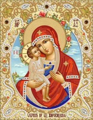 Основа для вышивания с нанесённым рисунком Марiчка РИК-4009 Жировицкая икона Божией Матери - схема для вышивания (Марiчка)