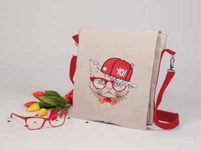 8538 Хип-хоп кот - текстильная сумка набор (МП)