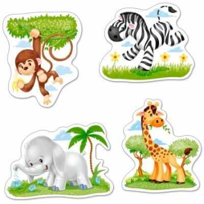 Пазлы Castorland В-005017 Африканские животные, 3,4,6,9 деталей