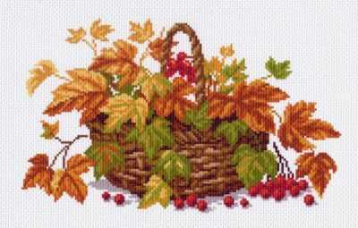 Основа для вышивания с нанесённым рисунком Матрёнин Посад 994 Осенние листья - рисунок на канве (МП)