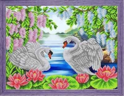 К-3078 Лебединая пара - рисунок на ткани