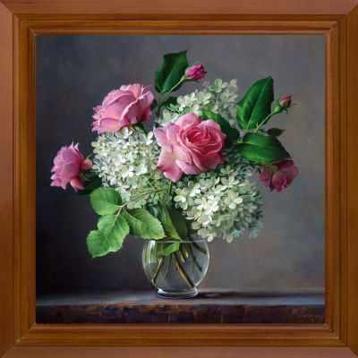 Основа для вышивания с нанесённым рисунком FeDi Р502 Розы и гортензия - схема для вышивания (FeDi) turtleneck flora fedi