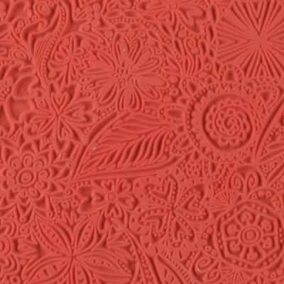 CE95005 Текстура для пластики резиновая 9х9 см Цветы - Инструменты для лепки из полимерной глины