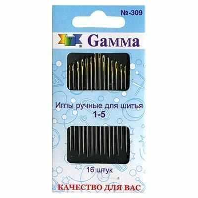 Иглыбулавки Gamma N-309 Иглы для шитья ручные №1-5 аксессуары для шитья diamonds 75g 1 05