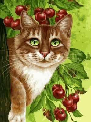 Купить со скидкой 149-AS Кот на вишнёвом дереве - раскраска (Белоснежка)