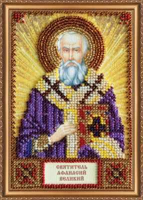ААМ-121 Набор для вышивания бисером икона  Св. Афанасий  - Наборы для вышивки икон «Абрис-Арт»
