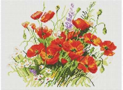052-ST-S Танцующие маки  мозаика на подрамнике (Белоснежка) - Мозаика «Белоснежка»