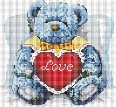 251-ST-S Медвежонок с сердцем  мозаика на подрамнике (Белоснежка) - Мозаика «Белоснежка»