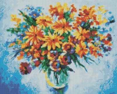 237-ST Разноцветные ромашки  мозаичная картина (Белоснежка) - Мозаика «Белоснежка»