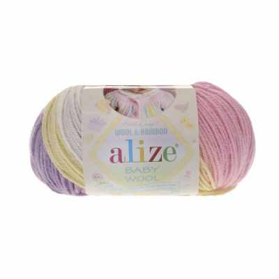 Пряжа Alize Пряжа Alize Baby Wool Batik Цвет.4006 Роз.лилов.крем.желт
