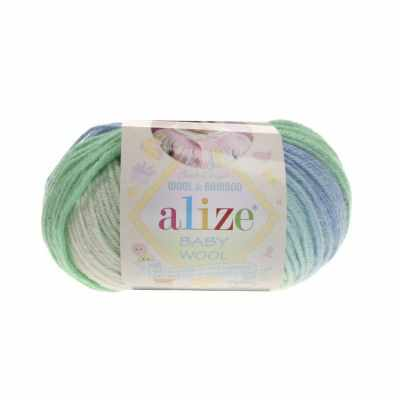 Пряжа Alize Пряжа Alize Baby Wool Batik Цвет.4389 Зел.сал.гол.бел