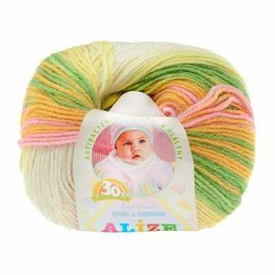 Пряжа Alize Пряжа Alize Baby Wool Batik Цвет.4390 Желт.роз.бел.св.сал