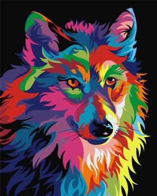 304001002  Радужный волк  Ваю Ромдони - Картины из песка