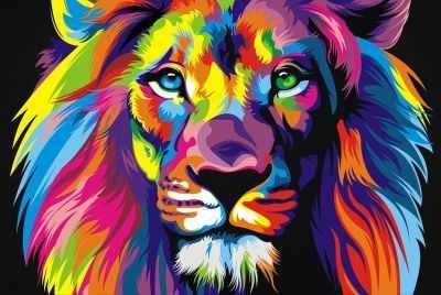 304001006  Радужный лев  Ваю Ромдони - Картины из песка