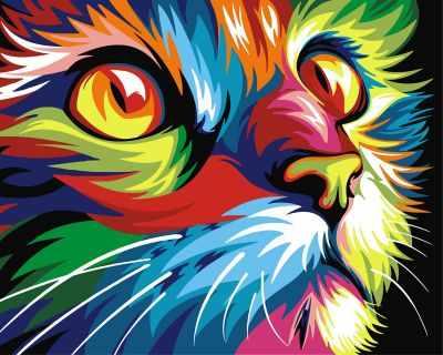 304001008  Радужный кот  Ваю Ромдони - Картины из песка