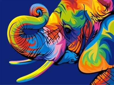 304001009  Радужный слон  Ваю Ромдони - Картины из песка