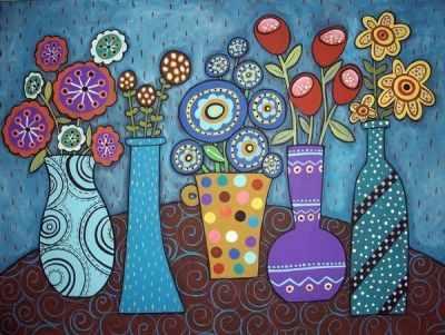 304001029  Букеты в вазах  Карлы Жерар - Картины из песка