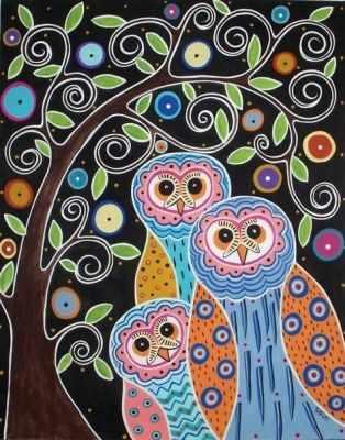 304001033  Совы на дереве  Карлы Жерар - Картины из песка