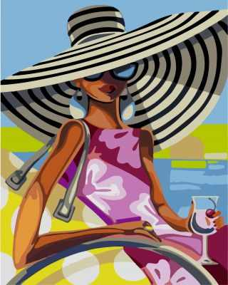 304002001  Пляжная красотка Триш Биддл - Картины из песка