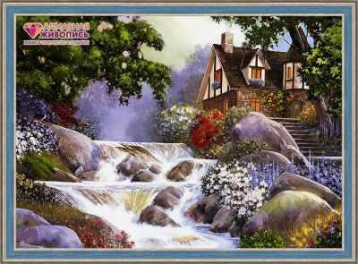 Купить со скидкой Дом у бурной реки (АЖ-1495)- картина стразами
