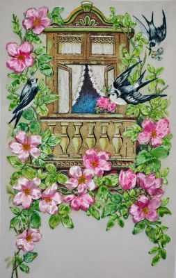 052-100 Ласточки и шиповник (РЛ) - Наборы для вышивания «Рисуем лентами»