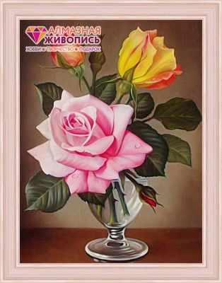 Купить со скидкой Розы в фужере (АЖ-1513) - картина стразами