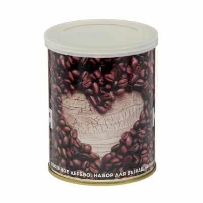 """2099103 Растущая травка в банке """"Я люблю кофе"""" (кофейное дерево)"""