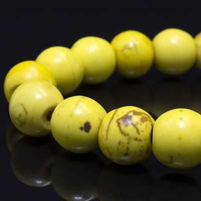 3302 Бусины. Синтет Бирюза, кругл 8мм, Желтый