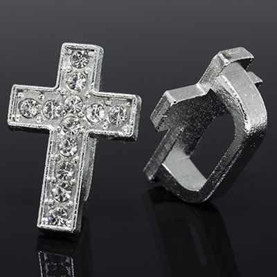 2371 Бусины Регализ со Стразами Крест, Платина