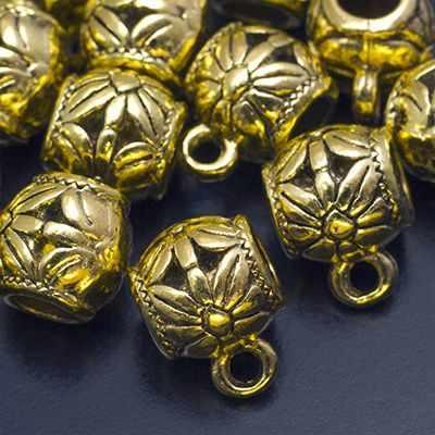 19167 Бейл Бочонок с Цветком 13х9.5х9.5мм, Античное Золото