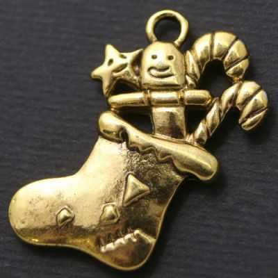 БА1538 Кулон. Носок 29х19х3мм, Античное Золото