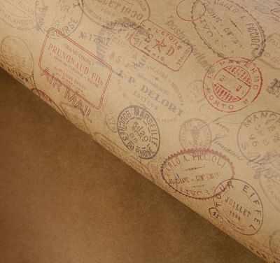 2378592 Набор бумаги упаковочной крафт Почтовые штампы