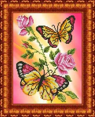 КББ 4006 Бабочки и розы - схема (Каролинка)