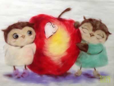 1415549 Набор для создания картины Совушки с яблоком