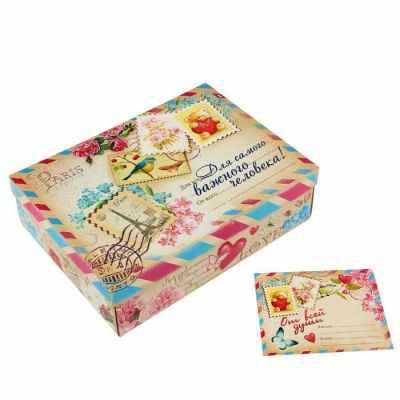 775749 Подарочный складной набор. Коробка и открытка  Письмо  - Подарочные коробки