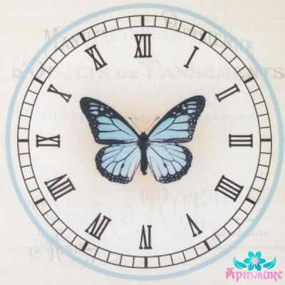 AM650010 Купон с рисунком Бабочка в часах на бежевом фоне