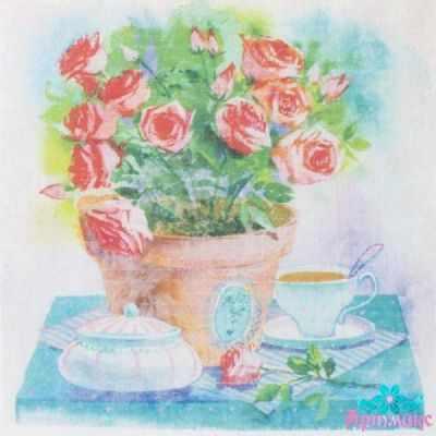 AM650018 Купон с рисунком Розы в горшке чашкой на столе
