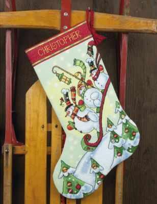 8853 DMS Sledding Snowmen Stocking