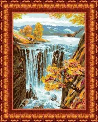 Основа для вышивания с нанесённым рисунком Каролинка КК 408 Водопад - схема для вышивания (Каролинка)