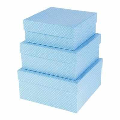 2602317 Набор коробок 3в1  Белые цветочки на голубом  - Подарочные коробки
