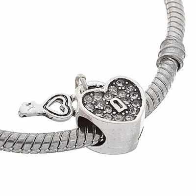 """1353562 Талисман """"Сердце"""" с ключиком, цвет белый в серебре"""