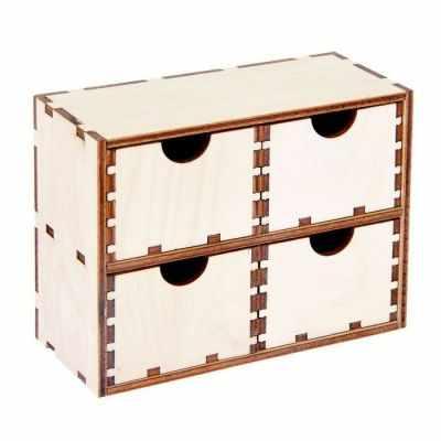 2078047 Шкатулка для декора из фанеры Комод 4 ящика малый