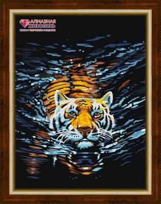 Алмазная мозаика Алмазная живопись Алмазная вышивка Плывущий тигр (АЖ-1521) - картина стразами
