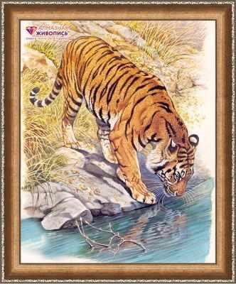 Фото - Алмазная мозаика Алмазная живопись Алмазная вышивка Тигр у реки (АЖ-1523) - картина стразами алмазная мозаика алмазная живопись алмазная вышивка черная пантера аж 1522 картина стразами
