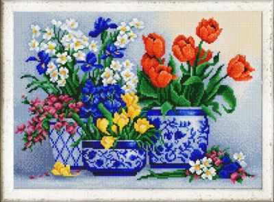 Основа для вышивания с нанесённым рисунком Конёк НИК 9960 Цветочный бум - схема для вышивания (Конёк)
