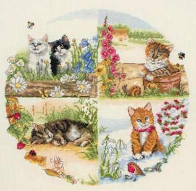 Набор для вышивания Anchor PCE0895 Коты и сезоны