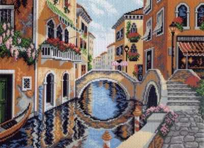 527  На улицах Венеции - рисунок на канве (МП)