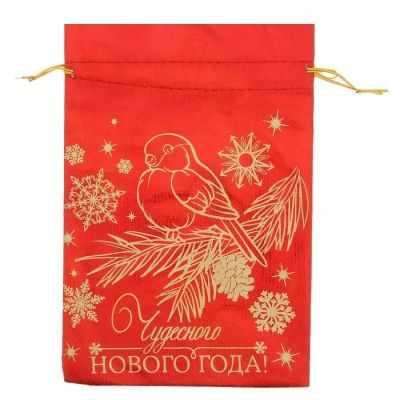 1390940 Мешочек подарочный парча Снегирь