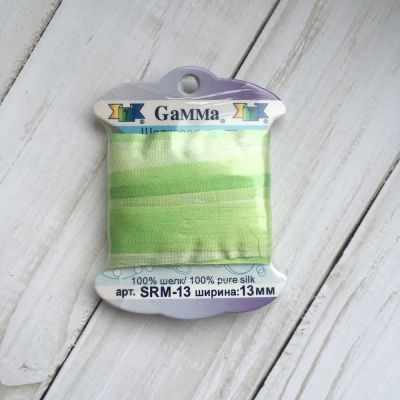 Ленты Gamma SRM-13 Лента декоративная Gamma шелковая M032 бл.салатовый/салатовый ленты gamma srm 13 лента декоративная gamma шелковая m108 зеленый св коричневый