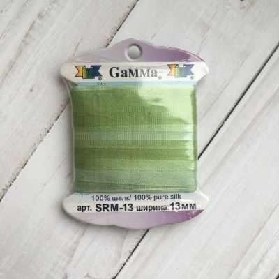 Ленты Gamma SRM-13 Лента декоративная Gamma шелковая M041 св.зеленый/зеленый